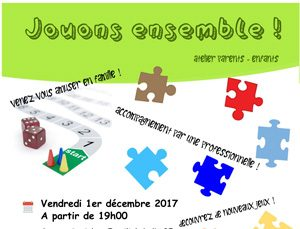 """Atelier parents-enfants : """"Jouons ensemble !"""""""