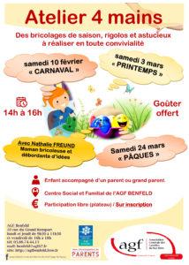"""Atelier 4 mains"" bricolage  de carnaval"