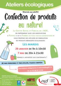 """Atelier (adultes) """"Confection de produits au naturel : produits ménagers écologiques"""""""