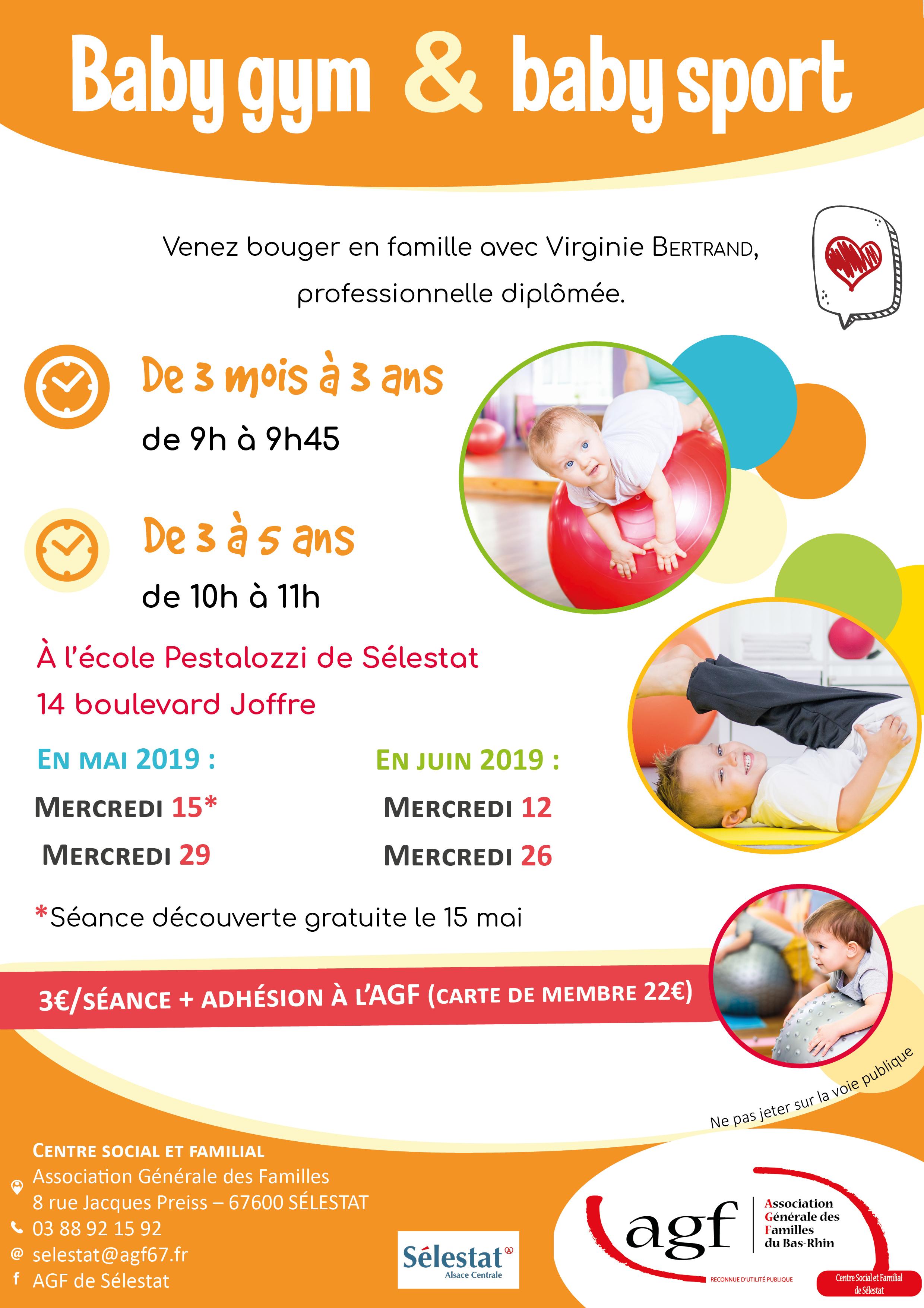 Séance de baby gym & baby sport (3 mois à 3 ans)