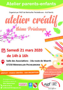 """Atelier parents-enfants """"Atelier créatif thème printemps"""""""
