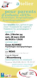 """Atelier pour parents d'enfants """"DYS"""" dyslexique, dysgraphique, dysorthographique…"""