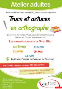 """Atelier adulte """"Trucs et astuces en orthographe"""""""