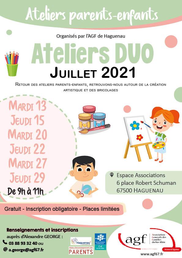 Ateliers parents-enfants : Ateliers duo en juillet